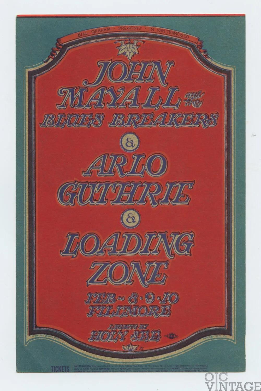 BG 106 Postcard John Mayall Arlo Guthrie Loading Zone 1968 Feb 8