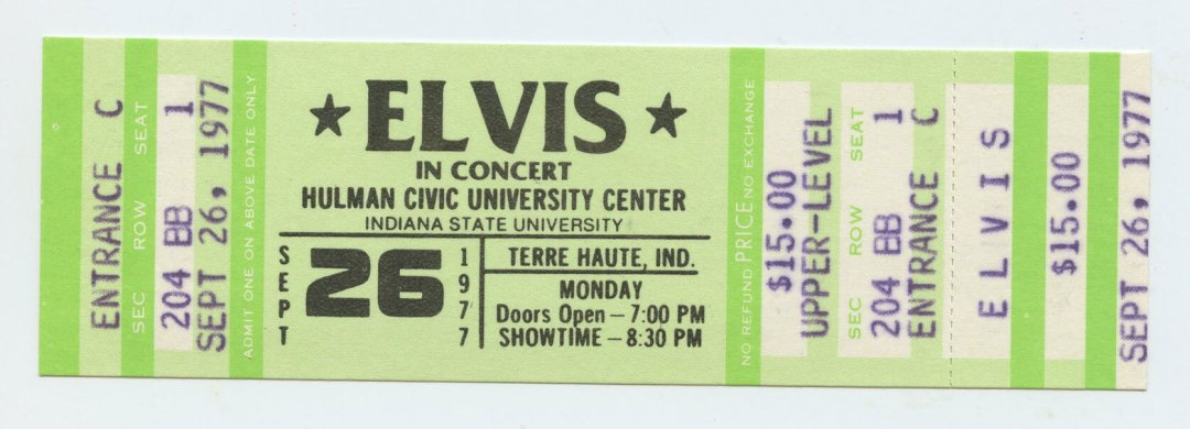 Elvis Presley Ticket 1977 Sep 26 Indiana State University Unused Concert