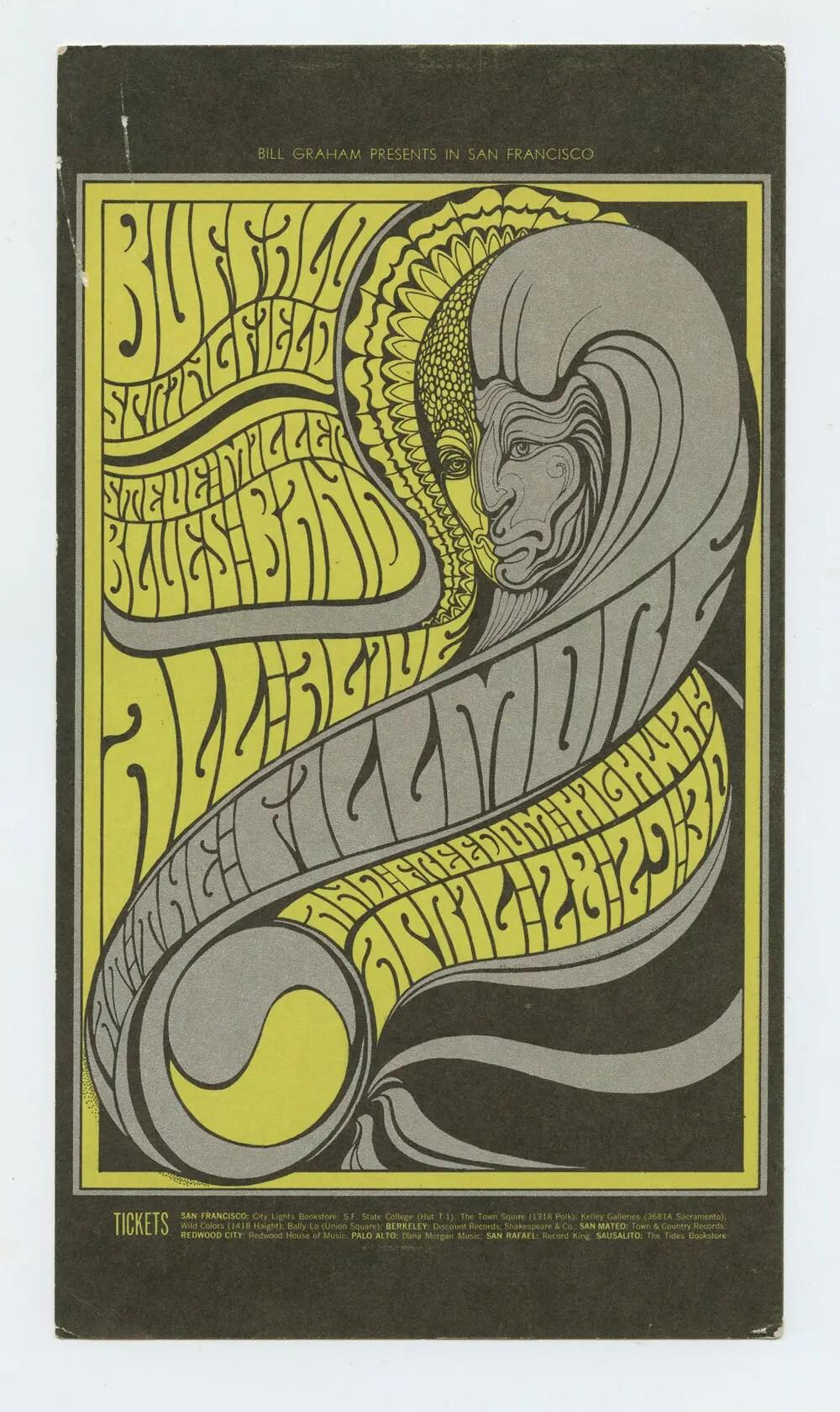 BG 61 Postcard Mailed Buffalo Springfield Steve Miller 1967 Apr 28