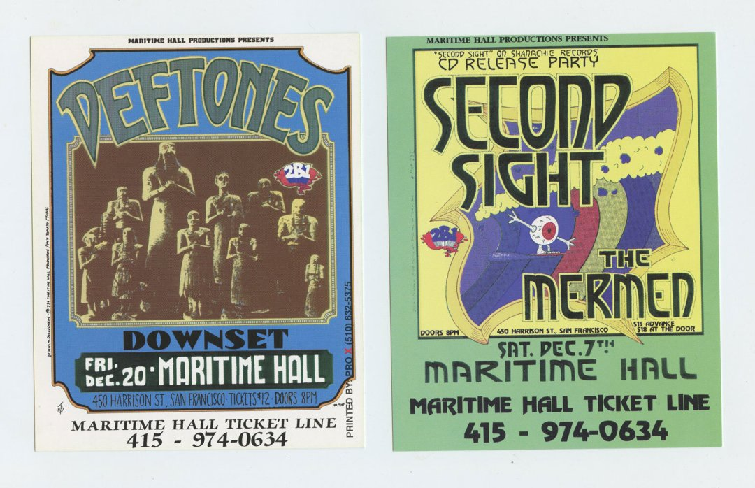 Maritime Hall 1996 Dec Handbill Deftones Second Sight