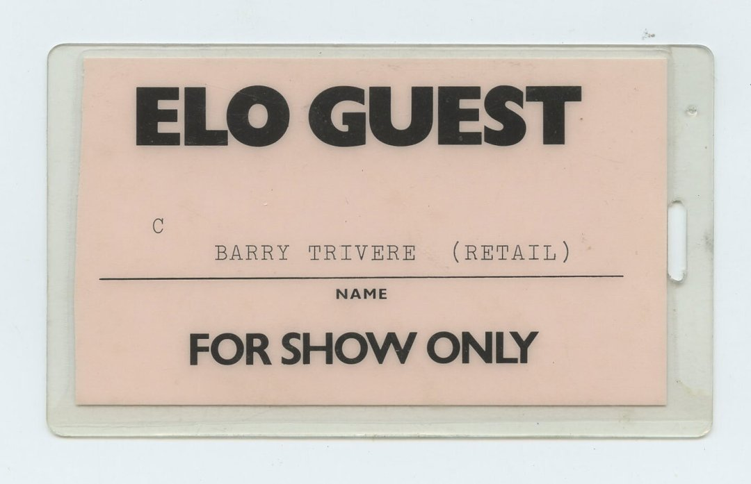 Electric Light Orchestra Backstage Pass Laminated 1984
