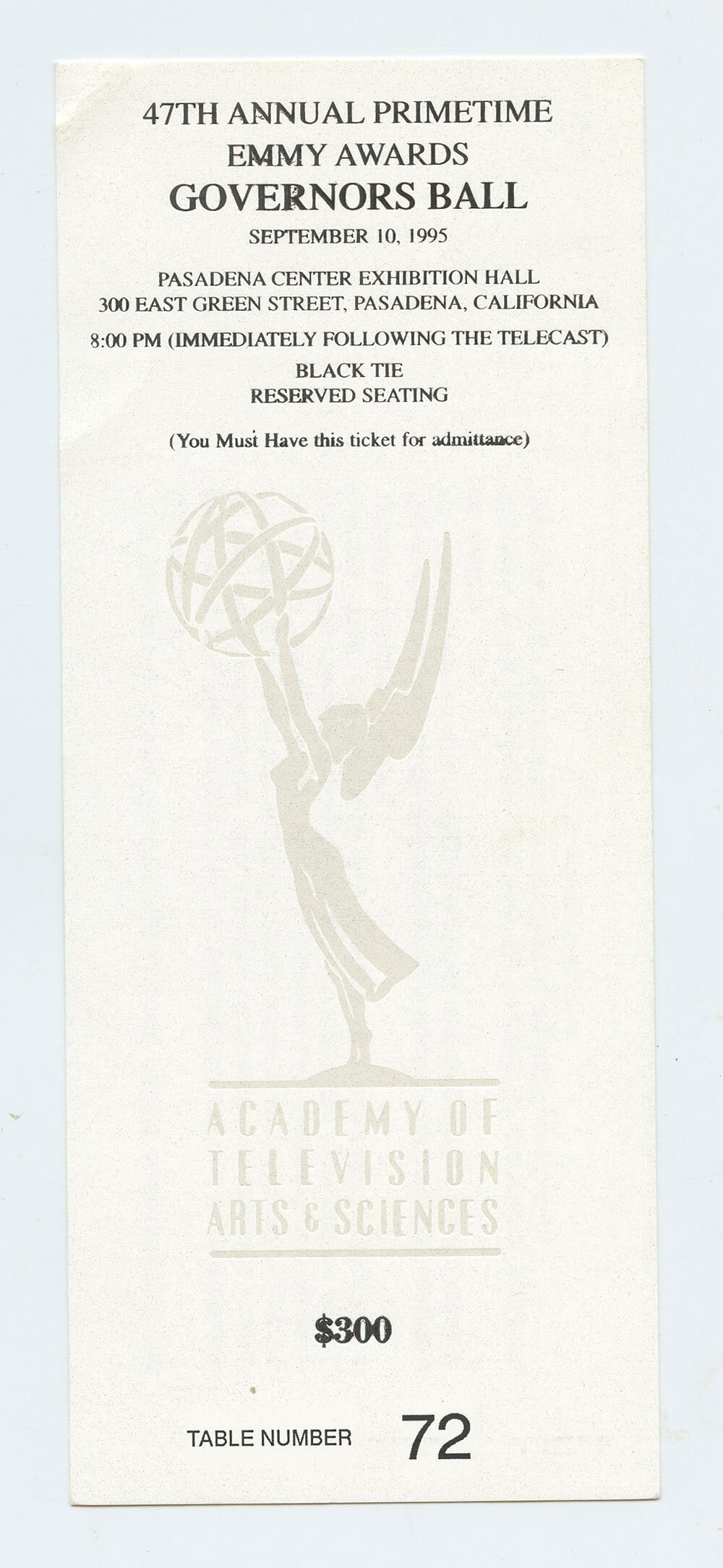 1995 47th Annual Primetime Emmy Awards Governors Ball ticket