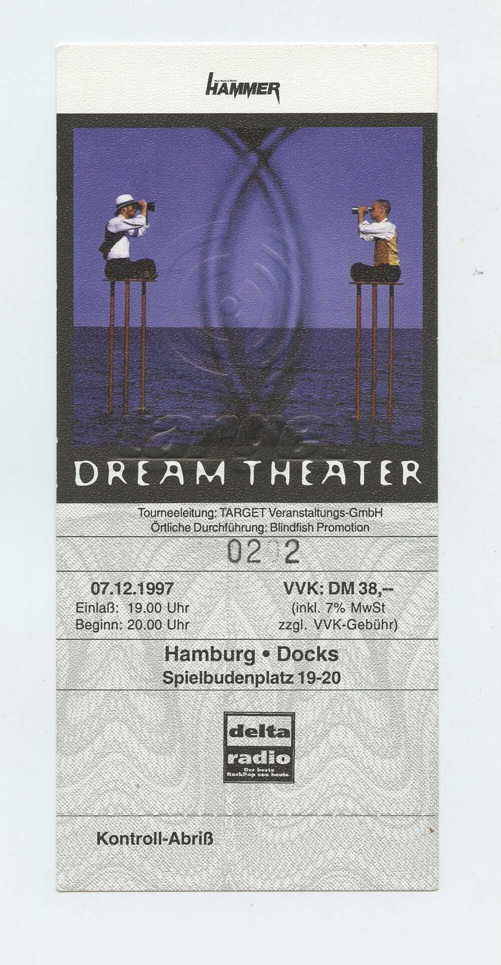 Dream Theater Ticket 1997 July 12 Hamburg Germany Unused