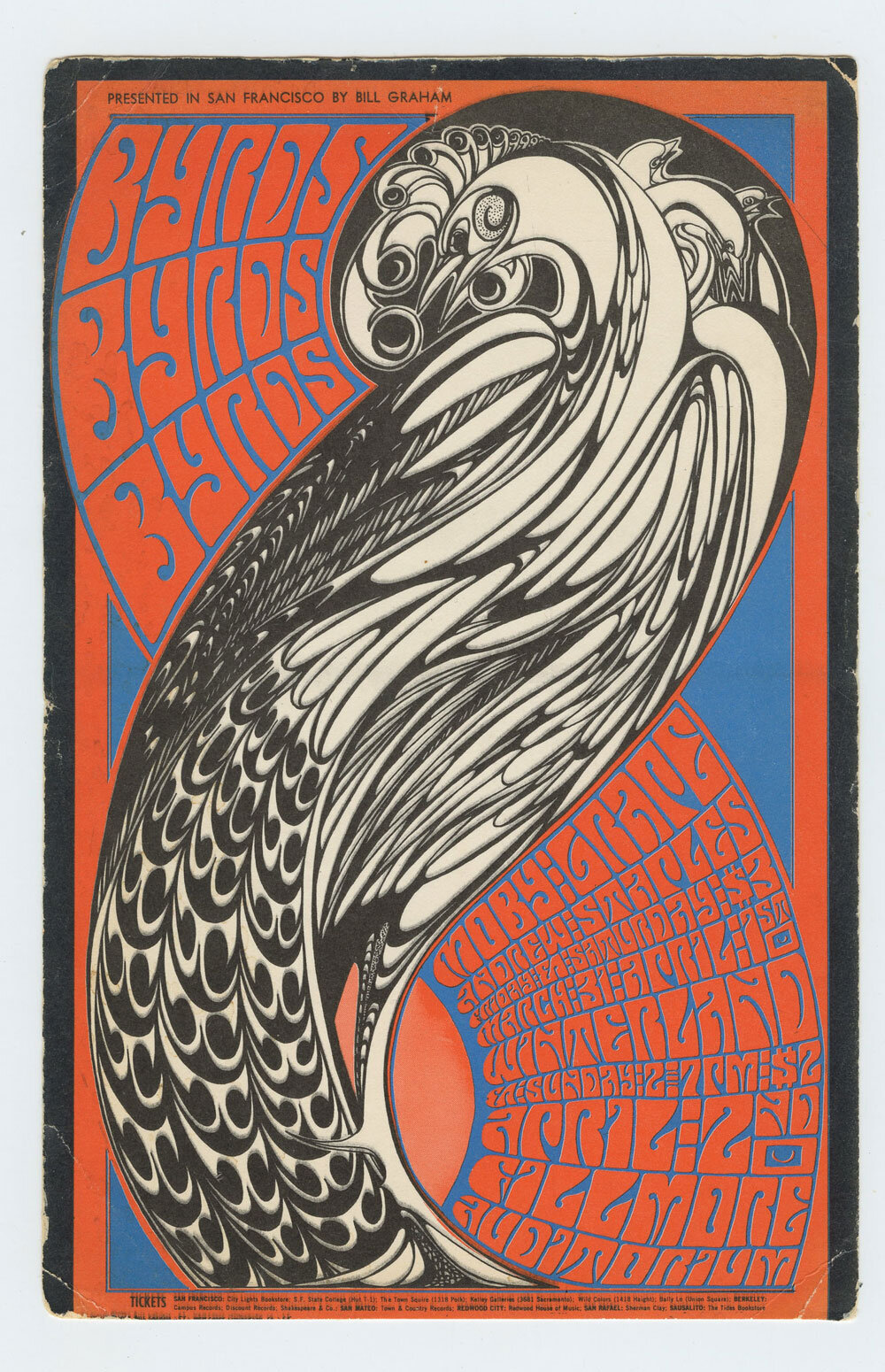 Bill Graham 57 Postcard Mailed Byrds Moby Grape 1967 Mar 31