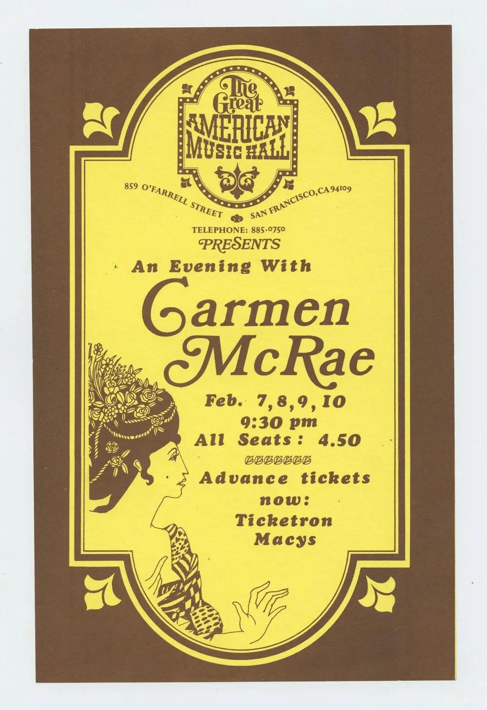 Carmen McRae Handbill 1974 Feb 7 The Great American Music Hall