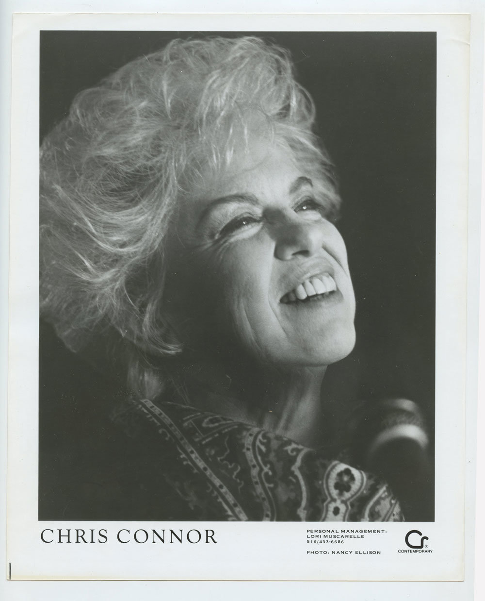 Chris Connor Photo 1987 Publicity Promo Contemporary Records