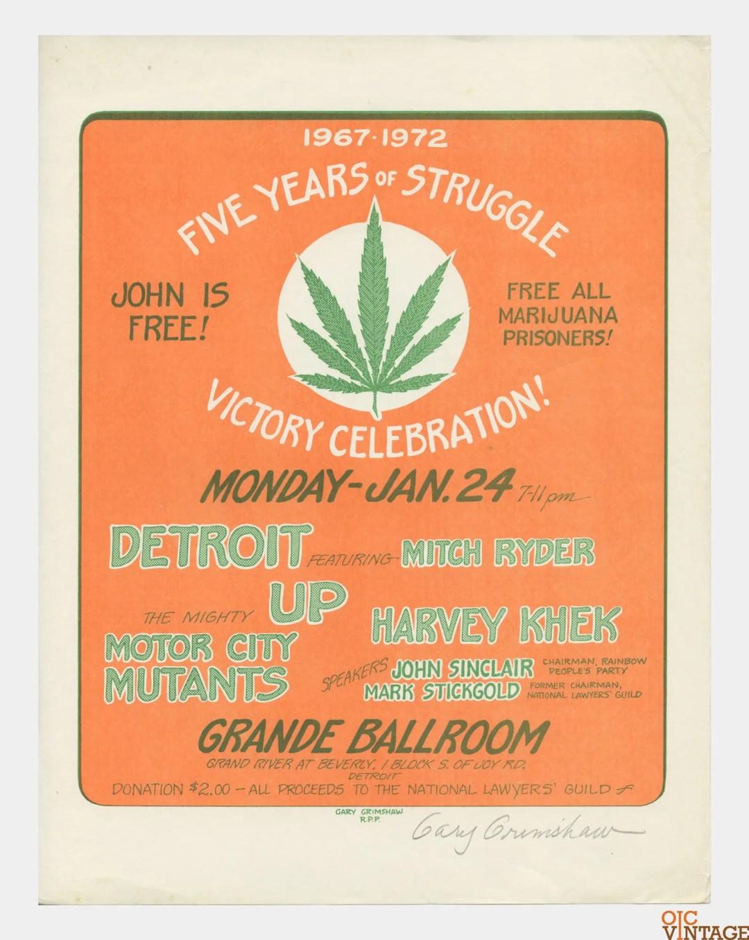 Grande Ballroom Handbill 1972 Jan 24 Gary Grimshaw signed Five Years of Struggle