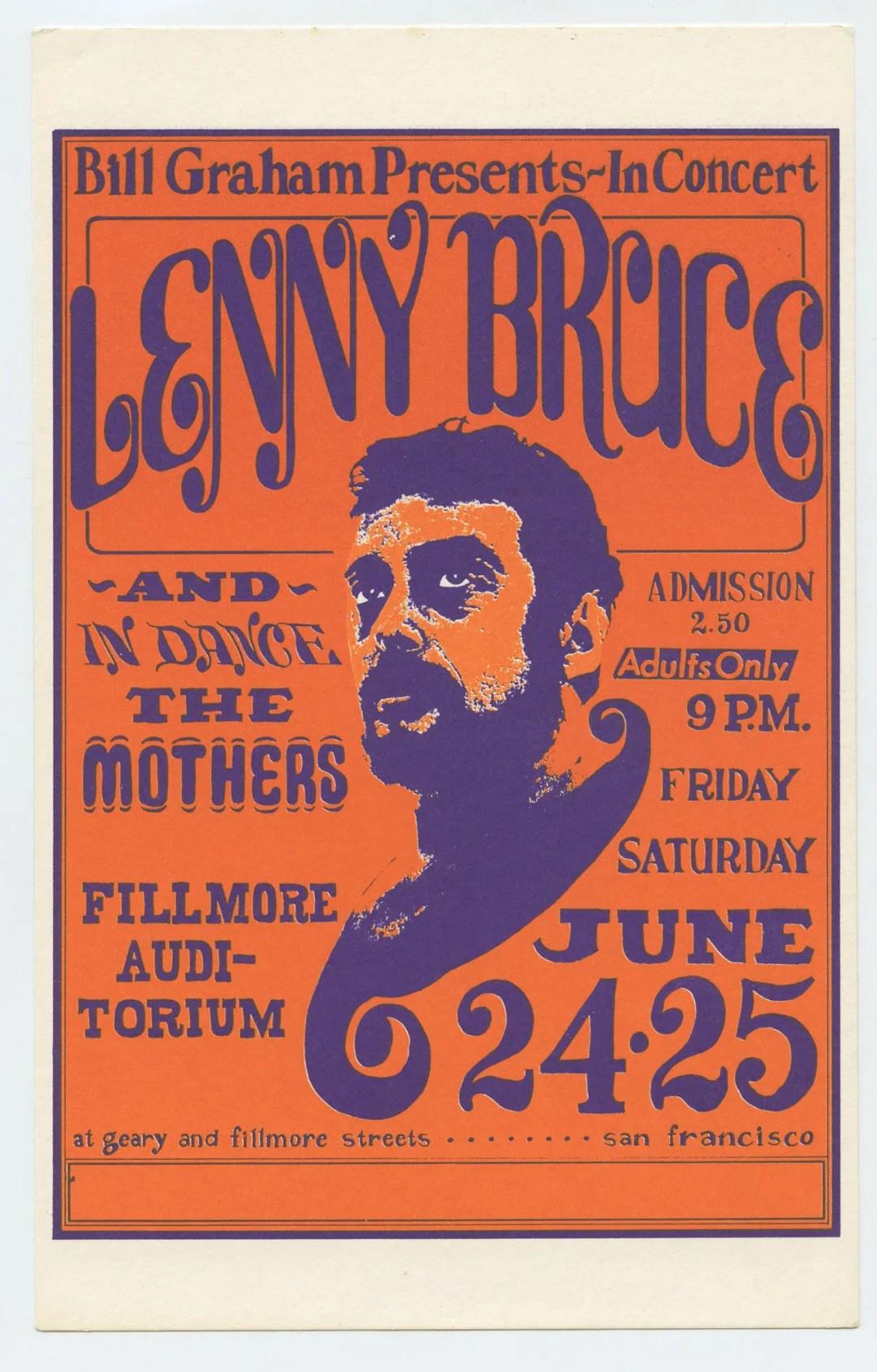 BG 13 Postcard Lenny Bruce The Mothers 1966 Jun 24