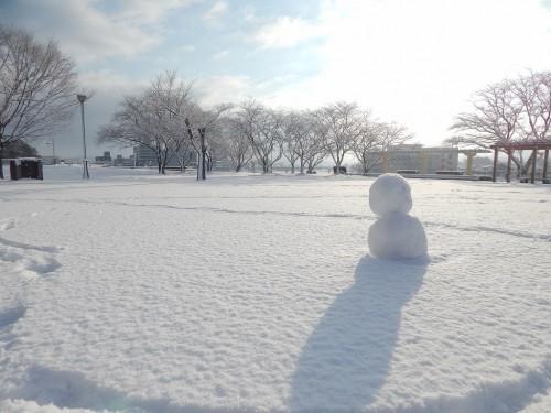 公園の中に雪だるまが作られていました