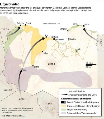 Libya Divided Map WSJ