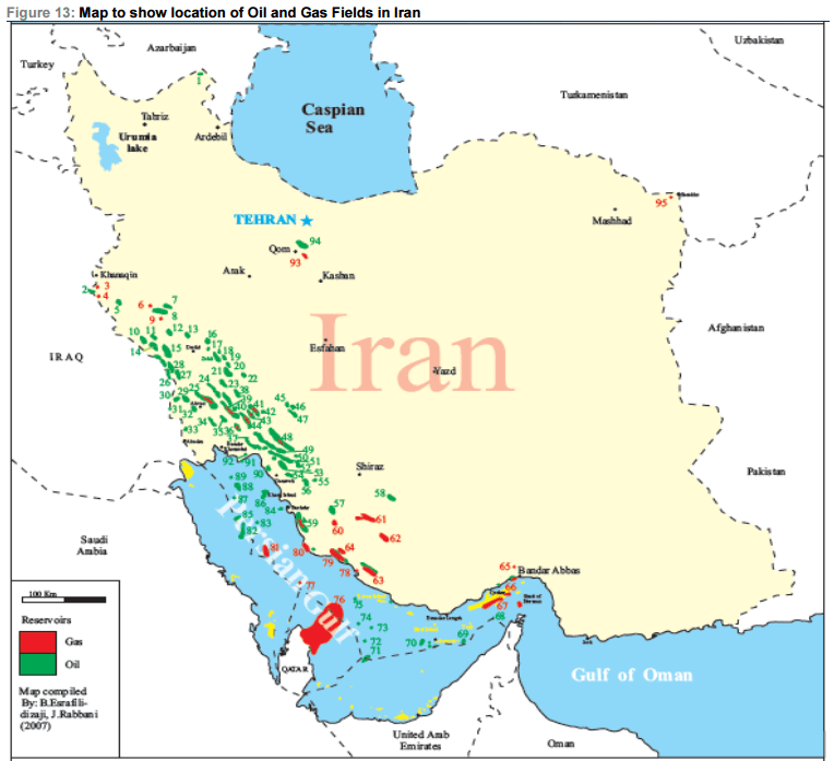 Iran Oil And Gas Map Oil Gas - Gas map
