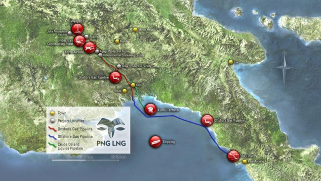 ExxonMobil PNG LNG project map offshore Papua New Guinea