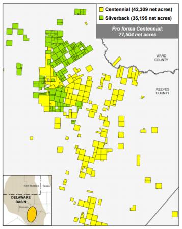 Centennial Resource Development acreage and Silverback acreage in the Delaware Basin