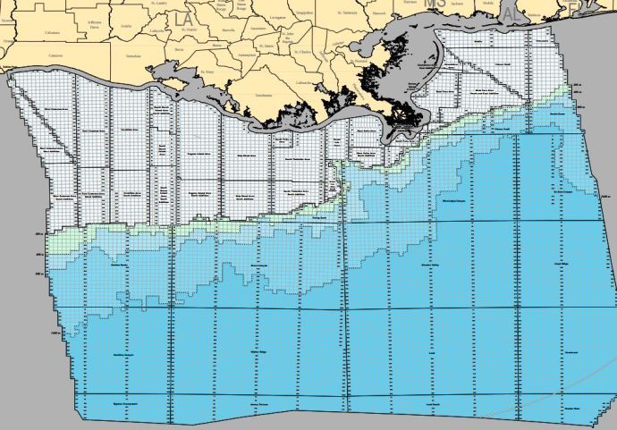 US To Offer Million Acres In Its Last Central Gulf Of Mexico - Large us map offshore numbers