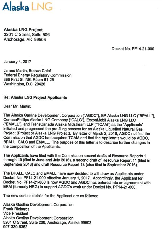 alaska lng letter of companies withdrawing
