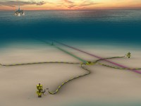 Schematic of Shell's Kaikias project in the US Gulf of Mexico, which is an economically resilient, subsea development with an estimated peak production of 40,000 barrels of oil equivalent per day (boe/d). Kaikias is started production approximately one-year ahead of schedule. (PRNewsfoto/Shell)