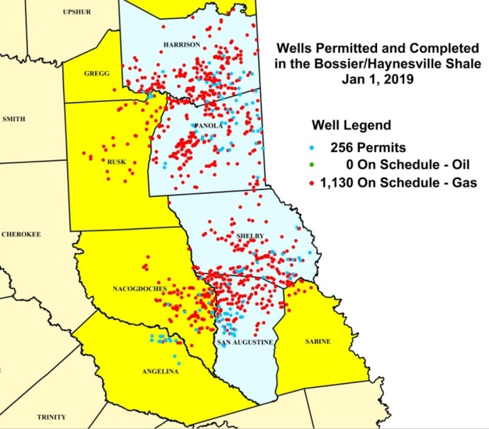 Oil & Gas 360 - Natural Gas Giant Haynesville Shale - Texas well count RRC