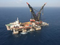 An aerial view shows the newly arrived foundation platform of Leviathan natural gas field, in the Mediterranean Sea, off the coast of Haifa