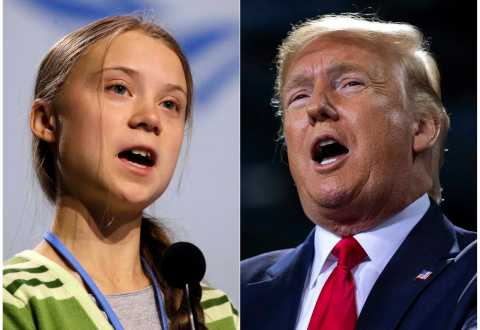 """This combination photo shows Swedish climate activist Greta Thunberg speaking at the COP25 summit in Madrid, Spain on Dec. 11, 2019, left, and President Donald Trump speaking at a campaign rally in Battle Creek, Mich. on Dec. 18, 2019. When climate activist Greta Thunberg, also 16, was named Time magazine's 2019 person of the year, President Donald Trump took to Twitter to call her choice """"ridiculous."""" (AP Photo/Paul White, left, and Evan Vucci)"""