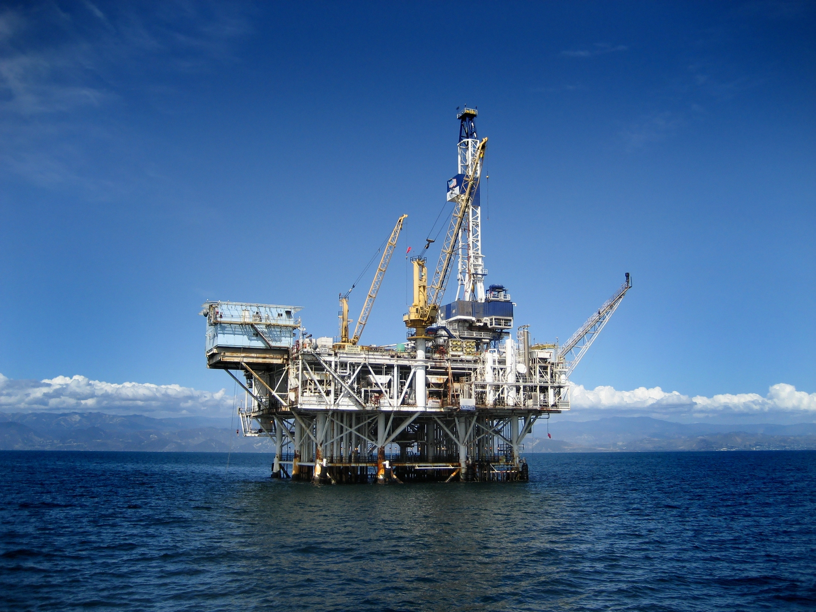 Large Pacific Ocean oil rig drilling platform off the southern coast of California. Circa 2007.