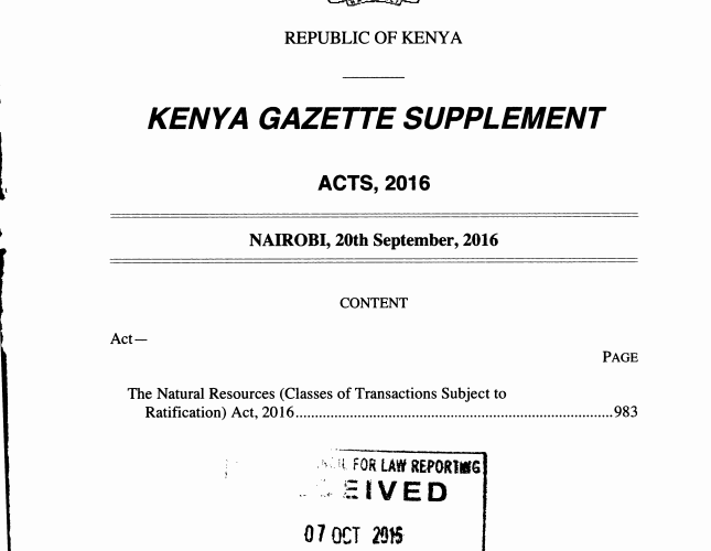 A Review Of The Natural Resources (Class Of Transactions Subject To Ratifications) Act, 2016