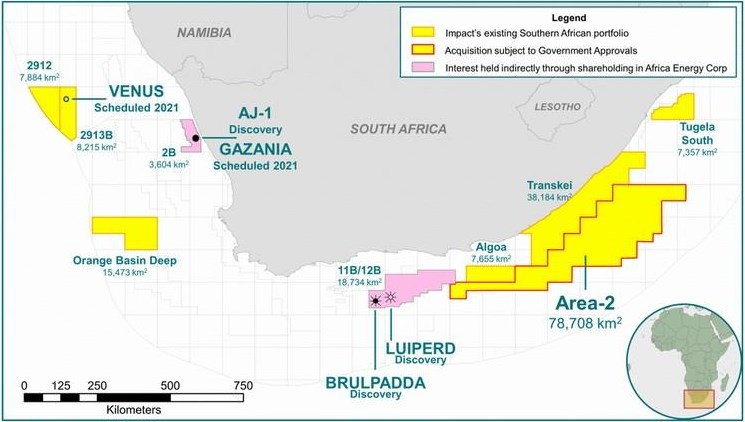 SOUTH AFRICA: Impact Oil, Silver Wave Energy Completes Acquisition of a 90% Working Interest & Operatorship of Area 2