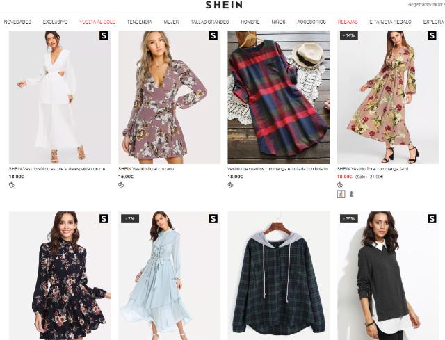 29 noviembre 2019, portal de shein, ropa, prendas, tienda online, descuentos, precios bajos