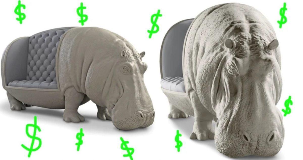 Imagen: Este sofá de hipopótamo es una inversión de un millón 900 mil pesos, 7 de noviembre de 2019 (Imagen: Especial)