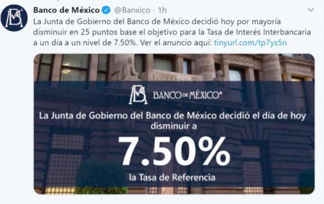 Imagen: Banxico anuncia disminuir tasa de interés, 14 de noviembre de 2019 (Imagen: Twitter @Banxico)