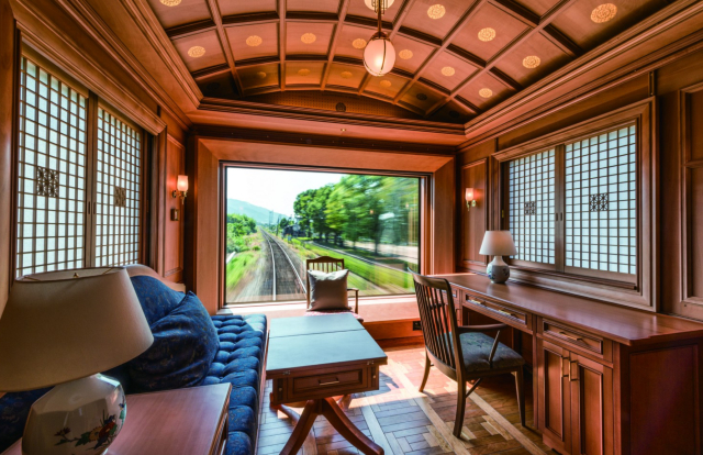 17 de enero 2020, Cruise Train Seven Stars, Tren Paisaje, Sala, Tren japones