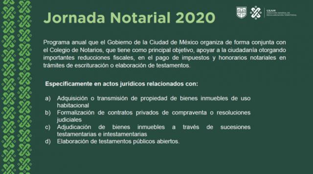 30 de enero 2020, Trámites de Jornada Notarial, Información, Documento, Gobierno de la Ciudad de México