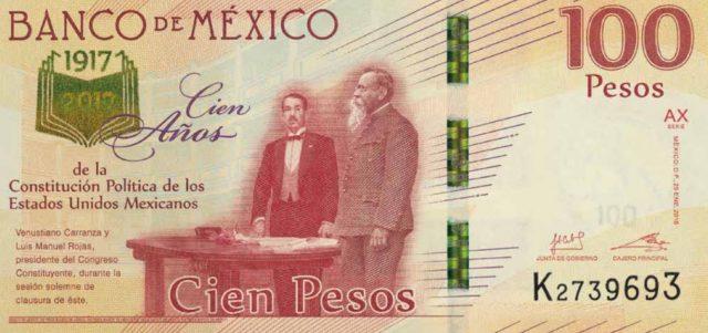6 de febrero de 2020, billete de 100 pesos conmemorativo por centenario de Constitución de 1917 (Imagen: Banxico)