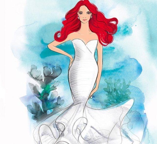 20 de febrero de 2020, boceto de vestidos de novia de Disney (Imagen: Instagram @disneyweddings)