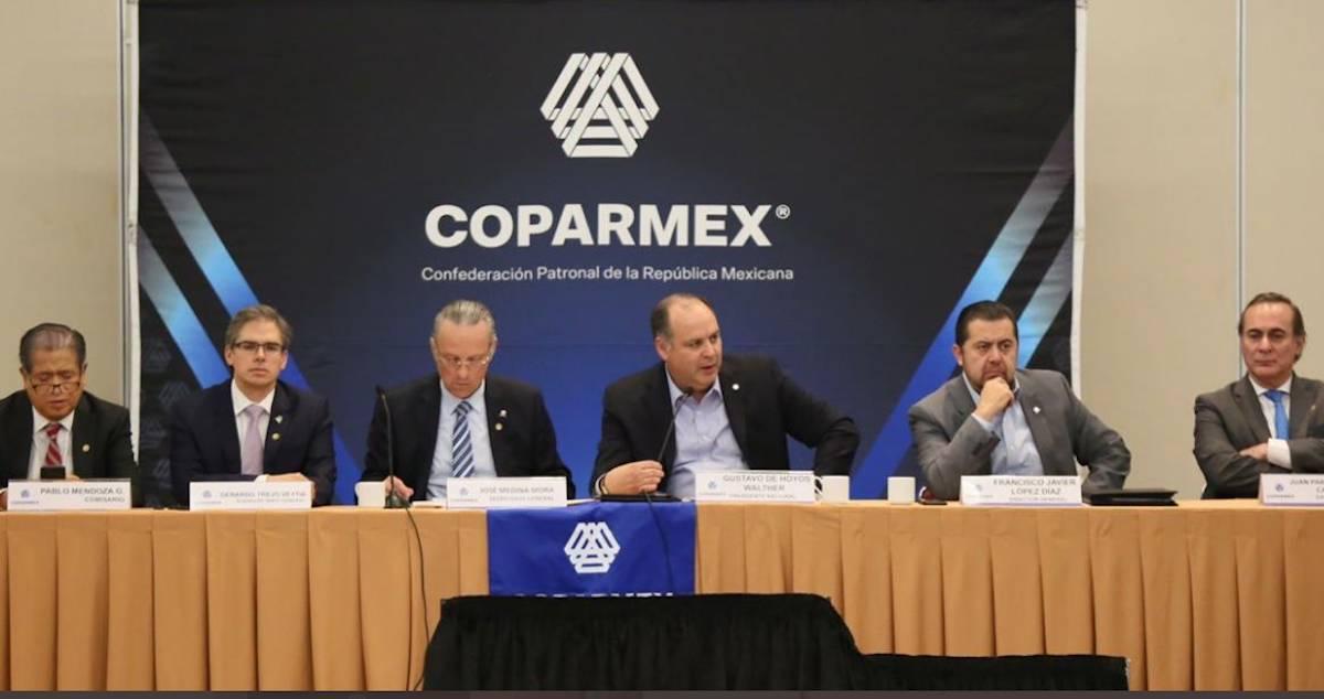 17 de marzo de 2020, líder y consejo de la Coparmex (Imagen: Twitter @gdehoyoswalther)