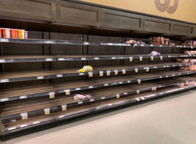supermercado, compras de pánico, COVID, anaqueles vacíos