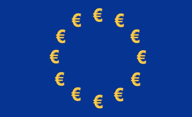 Euros con bandera de la Unión Europea (Imagen: Twitter: @XavierSerrahima)