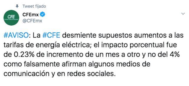 CFE emite descarta aumento del 4% en tarifa eléctrica durante abril de 2020 (Imagen: Twitter @CFEmx)
