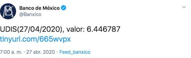 UDIS y dólar en el Banco de México, hoy lunes 27 de abril de 2020 (Imagen: Twitter @Banxico)