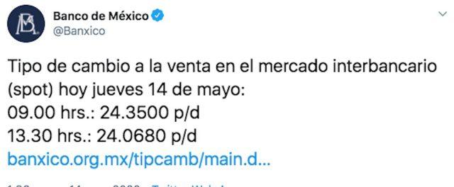 El precio del dólar hoy al cierre 14 de mayo de 2020 en Banxico (Imagen: Twitter @Banxico)