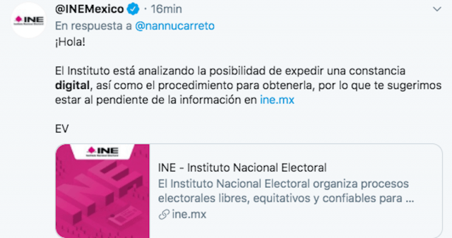 Constancias digitales INE (Imagen: Twitter @INEMexico)