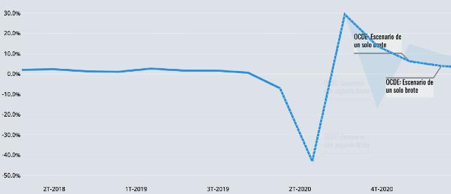 OCDE, PIB de México, Economía mexicana, Caída, Contracción