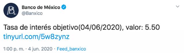 Tasa de interés objetivo (Imagen: Twitter @Banxico)