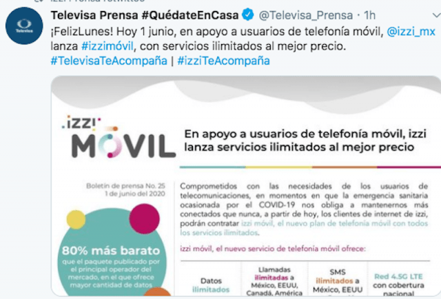 Televisa dará servicio de telefonía móvil (Imagen: Twitter @Televisa_Prensa)