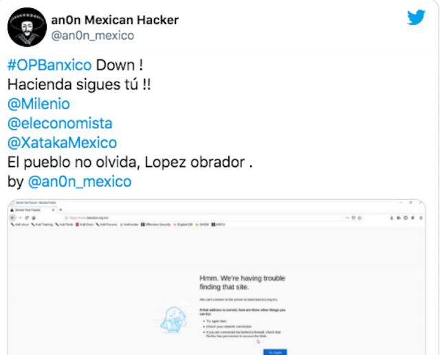 Ataque ciberético en México (Imagen: Twitter @an0n_mexico)