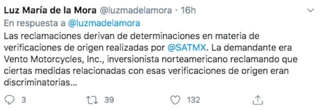 Luz María de la Mora habla de gana México demanda comercial (Imagen: Twitter @luzmadelamora)