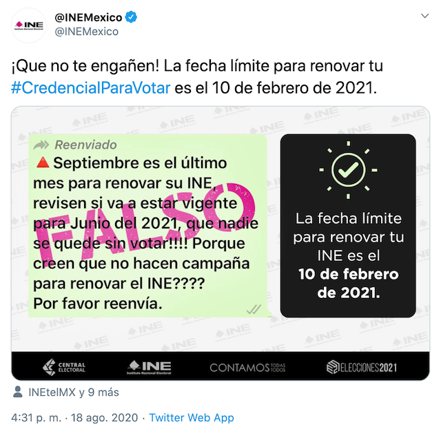 Renovación del INE, Trámites, Información Falsa, Credencial para Votar
