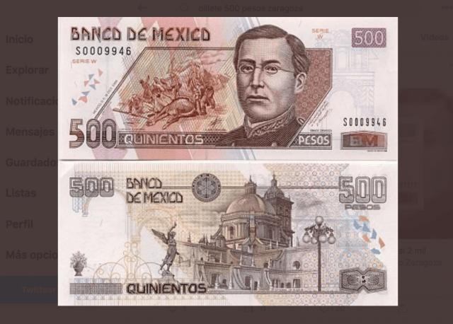 Ignacio Zaragoza en billete de 500 pesos (Imagen: Twitter @AntoniLooquendo)