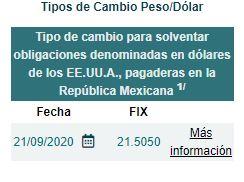 El precio del dólar hoy al cierre 21 de septiembre de 2020 en México