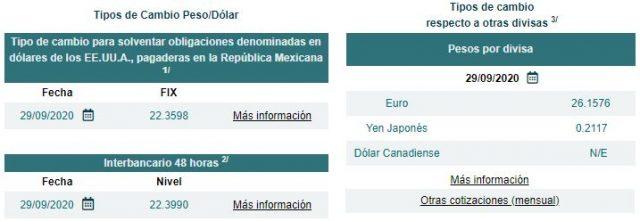 Tipo de cambio y precio del dólar al cierre