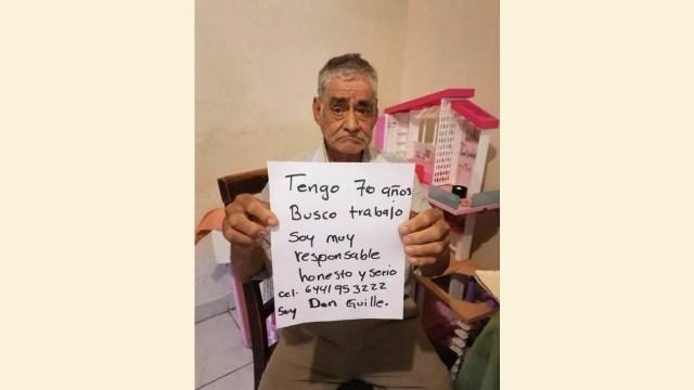 Abuelito de Obregón, Sonora, pide trabajo para conseguir pensión (Imagen: Twitter @FlorDCapomo)